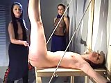 Bondage girl gets spanking to blood
