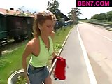 Street whore pussy fingered in public