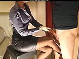 Sexy mistress stroking dude cock