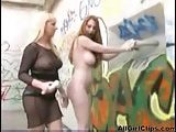 Bound Lesbian Takes Strap On In Public