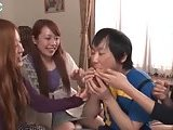 Hot asian chicks lick his body