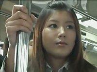 Schoolgirl upskirt on train