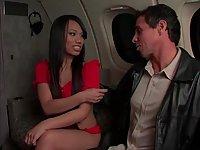 Sex with brunette slut in airplane