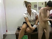 Girl shows her handjob talent
