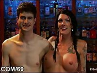 Busty tranny drilling dominated dude