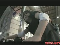 Japanese cuties squirting on bike