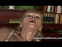 Filthy granny gets a guy cock to suck