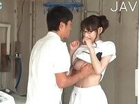 Busty Japanese cunt licked & fingered