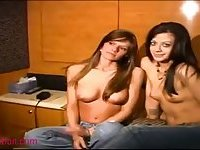 Cute Girls In Motor Home Make Out And Bare It All