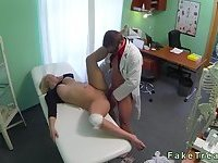 Big tits blonde with injured knee drilled by doctor
