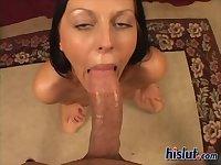 Brunette POV cock sucked off
