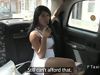 British ebony hooker with huge tits fucked in fake taxi