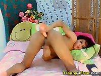 Cute Tranny Jerking her Hard Dick