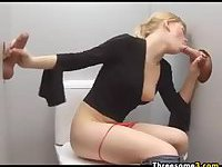 Glory Hole Threesome With A Blonde