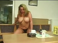 Busty blonde fuck in the bowling