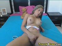 Busty Tranny Live Cam Masturbation