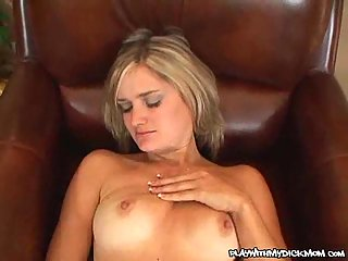 Horny bitch plays with POV hard cock