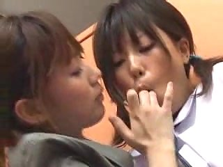 Asian lesbos sex in a library at besttubeclips.com