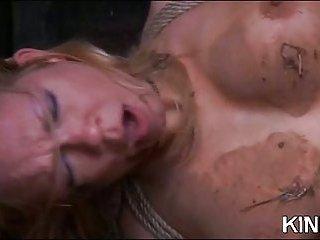 Pretty hot babe bondaged